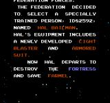 Air Fortress NES A portion of the game's story
