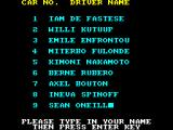 Nigel Mansell's Grand Prix ZX Spectrum Enter your name.