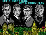Jeffrey Archer: Not a Penny More, Not a Penny Less - The Computer Game ZX Spectrum Loading screen.