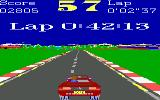 Turbo Champions DOS Text zooms in smoothly overhead, as in the time display for your previous lap (EGA, Tandy)