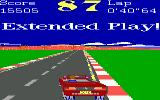 Turbo Champions DOS Finishing a lap quickly can net you a serious time bonus (EGA, Tandy)