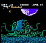 Godzilla: Monster of Monsters NES Godzilla in some kind of alien octopus zone