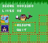 Taz-Mania Game Gear The pause screen shows all levels finished and the current one.