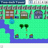 Two-Inch Town Palm OS First map, a person (=Smiley) and some buildings are already there