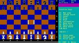 PowerChess DOS This is the main game screen. Here an opening move is being made. The E2 pawn has been selected and is about to be placed in E4