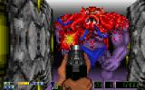 Corridor 7: Alien Invasion DOS Ingame - Against a pixel monster :)
