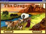 The Oregon Trail Windows The game's title screen. The game runs in a window with many options such as save, load & help being available via the menu bar.