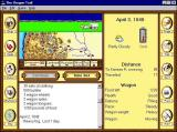 The Oregon Trail Windows The main game screen. The top window shows the oxen pulling the wagon across the plains. At night there's an animation of a campfire. The journal builds up as the 'days' pass.