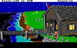 King's Quest IV: The Perils of Rosella DOS AGI: the fisherman's house at night; the sea looks even better in this version, it's so dark and uninviting...