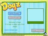 Dogz Windows This is the first game screen. The first time through the player gets to choose their puppy. On subsequent visits they can choose another one or continue with their current pet.