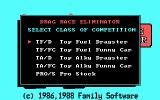 Drag Race Eliminator DOS Choose the competition class  (CGA with RGB monitor)