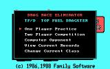 Drag Race Eliminator DOS The main menu (CGA with RGB monitor)