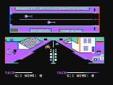 Drag Race Eliminator DOS Race in progress; player 1 isn't keeping up too well (CGA with composite monitor)