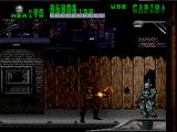 RoboCop Versus the Terminator SNES Flo, the soldier from the future, drops down to assassinate Robocop, but she's promptly blown away by a drive-by Terminator