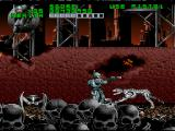 RoboCop Versus the Terminator SNES SKYNET seems fond of piles of human skulls, because the exterior of his HQ is stuffed with them