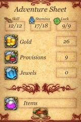 Fighting Fantasy: The Warlock of Firetop Mountain iPhone Let's have a look at my marvelous stats...