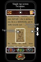 Fighting Fantasy: Citadel of Chaos iPhone Interface instructions, using sample artwork from the previous game.