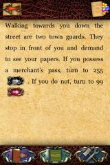 Fighting Fantasy: City of Thieves iPhone Gamebook interface infringes on the margins