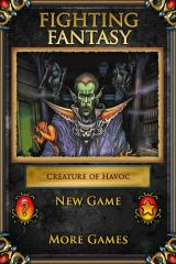 Fighting Fantasy: Creature of Havoc iPhone Start menu