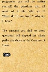 Fighting Fantasy: Creature of Havoc iPhone Unusually existentialist questions for a gamebook.  And in we go to the game!