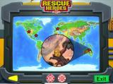 Rescue Heroes: Meteor Madness Windows Rescue Heroes Command Centre. The map shows the four trouble spots. When the mouse cursor is moved over each one a picture is displayed and a voice describes the mission