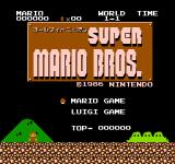 All Night Nippon Super Mario Bros. NES Title screen