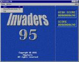 Invaders 95 Windows The game's title screen. A new game is not started automatically, the player must select that option from a drop down list on the menu bar.