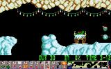 Xmas Lemmings DOS The exit door is festive as well.