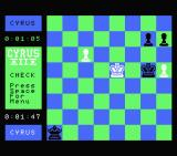 Cyrus II Chess MSX A black pawn has made it to the opposite side of the board and is now a queen.