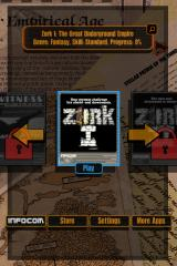Lost Treasures of Infocom iPhone Choose a game -- Zork I begins available for free, other games must be bought