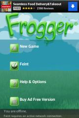 Frogger Android Title screen