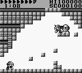After Burst Game Boy The first level. The orb in the upper right is the goal and the main character stands directly besides it.