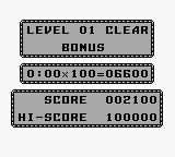 After Burst Game Boy After clearing a level, bonus points are awarded for each second left on the time limit.