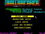 Ball Breaker ZX Spectrum Main menu with credits