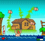 Billy Bob's Huntin'-n-Fishin' Game Boy Color Balancing the pigs over the water.