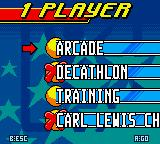 Carl Lewis Athletics 2000 Game Boy Color Some game modes and disciplines have to be unlocked.