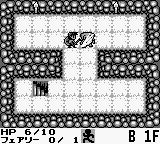 Cave Noire Game Boy Fighting a monster in turn-based combat.