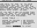 Galactic Trooper ZX81 Instructions