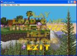 Lady Cruncher Windows The game's main menu is a series of semi transparent options displayed over a demo of the game. Only the currently selected option is in solid text.