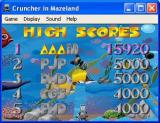 Cruncher in Mazeland Windows The high score screen