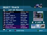 Moto Racer 2 PlayStation List of tracks: You can select 32 different tracks to play