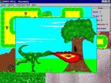 Dino Spell Windows When a tree is encountered and the player answers the question correctly there is a brief animation showing Derik destroying the tree.