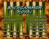 Backgammon Royal Amiga Title screen with credits