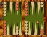 Backgammon Royal Amiga The gameplay screen. Not shown: All controls and options are reached through a menu bar which shows up while holding the right mouse button.