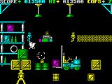 Cop-Out ZX Spectrum Level 4, shoot out inside a warehouse, enemies pop up from behind crates