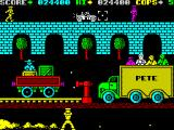 Cop-Out ZX Spectrum Level 8, Pete's truck is like a clown mobile, the enemies keep coming