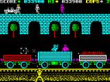 Cop-Out ZX Spectrum Level 10, the final level combining background elements of previous levels