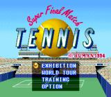 Super Final Match Tennis SNES Title screen (English)