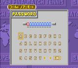 Super Final Match Tennis SNES Password screen for the World Tour Mode
