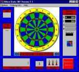 The main game screen. Darts are picked up one at a time by clicking on them. At the end of a throw they are returned to their box by clicking on the 'Return Darts' button